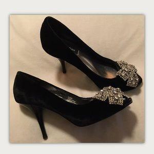 White House Black Market Velvet PeepToe Heels 51/2